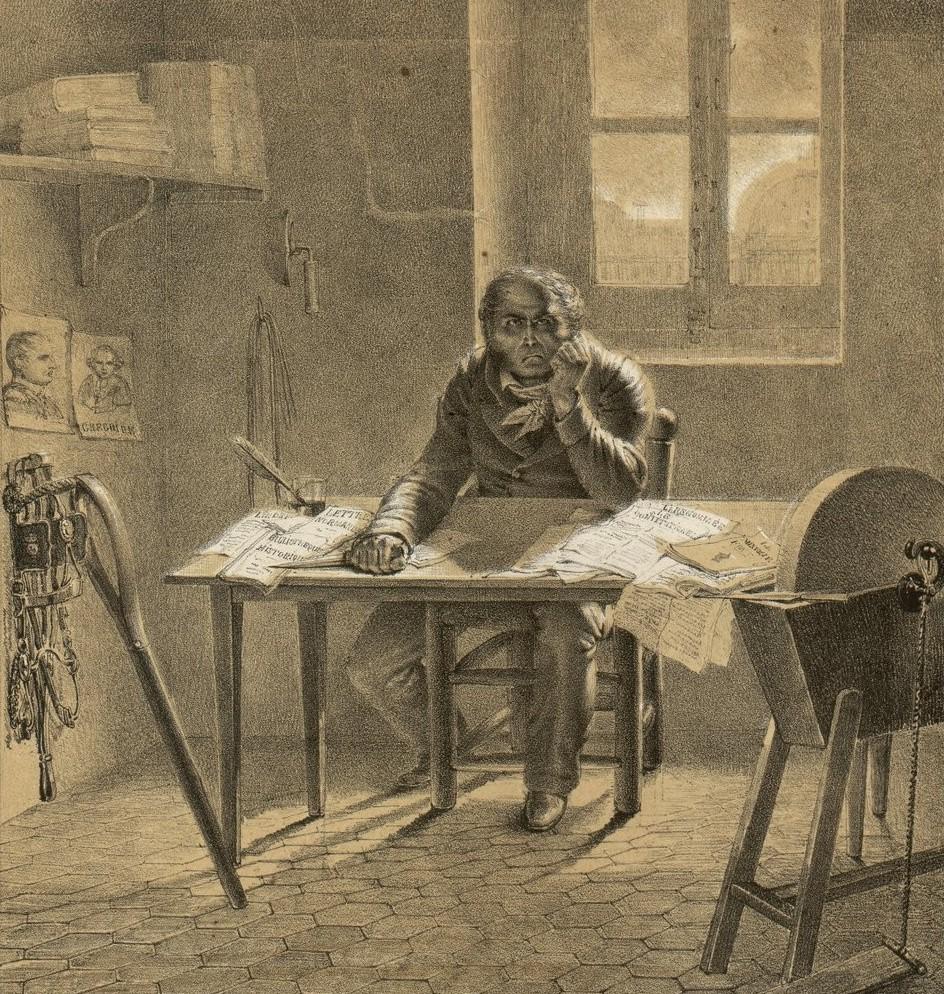 Louvel, dans sa chambre, assis derrière une table chargée de journaux libéraux, a saisi un poignard et médite son projet criminel, Estampe, 1820, 24,6 x 23,9 cm, BNF : Réserve QB-370 (77)-FT4. Gallica