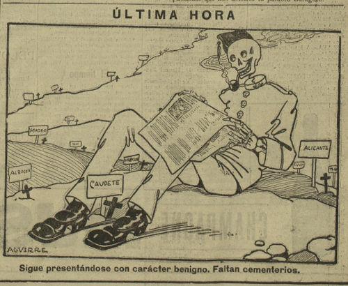 Aguirre, « Última hora ». Dessin de presse paru dans El Figaro (Madrid), 25 septembre 1918, p. 5. BNE - Hemeroteca digital