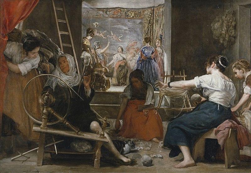 Diego Velázquez, Las Hilanderas, vers 1657, peinture à l'huile, Musée du Prado, inv. P001173. Domaine public